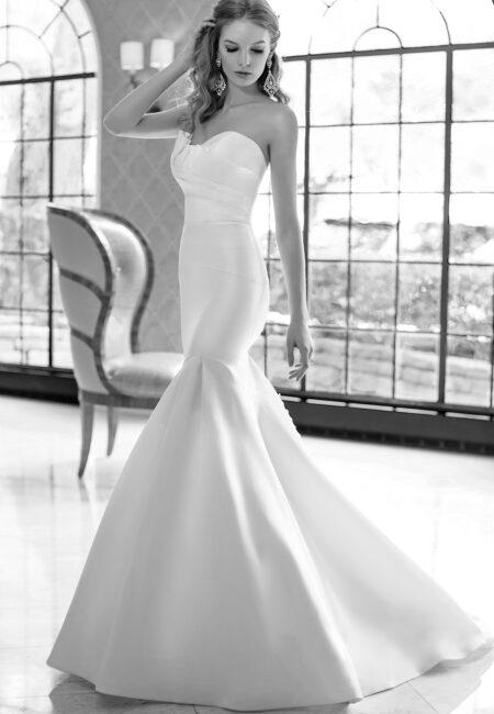 Schwarz Weiß Foto, Brautmode, Kleid, Mermaid-Brautkleid