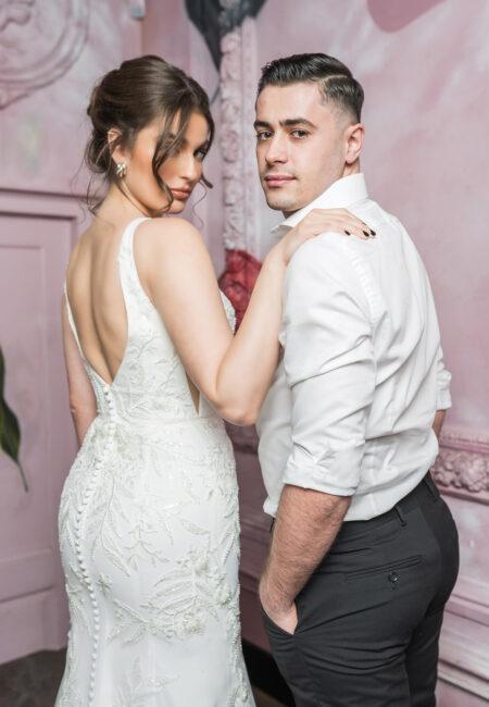 Brautpaar, Rückenausschnitt, Kleid, Justin Alexander, Hochzeitskleid