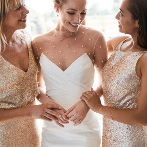 Braut, Brautjungfern, Brautkleid, Hochzeit, Brautmutter, Glitzerkleider