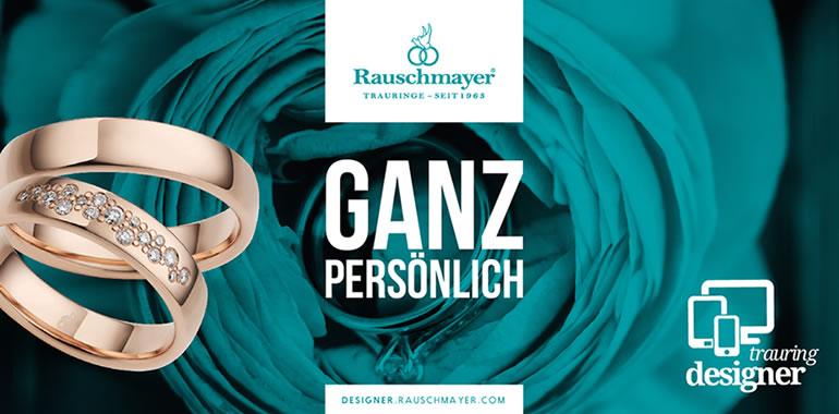 Rauschmayer, Ringe, Eheringe, Trauringe, Rose im Hintergund, Logo