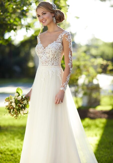 Hochzeitskleid, Brautkleid, Stella York, Spitze, weißes Kleid, Brautstrauß